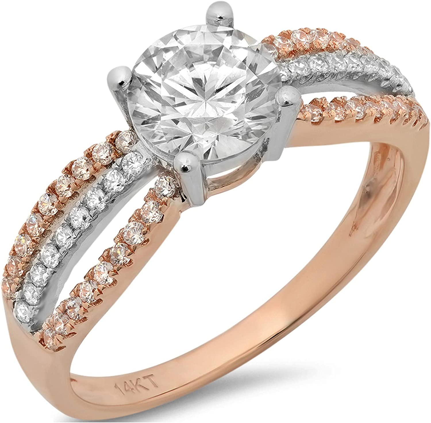 1.22ct Round Cut Solitaire with accent Genuine Moissanite Ideal VVS1 D & Simulated Diamond Designer Modern Statement with accent Ring Solid 14k 2 tone Gold