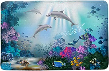 "HIYOO Underwater Seabed Coral Dolphins Fish Theme Non Slip Bathmat, Doormat, Bathroom Bath Floor Kitchen Area Door Entrance Rugs Mat, Super Soft Flannel Fabric with Inner Thick Sponge 16"" W x 24"" L"