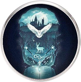 Spilla con perno in acciaio inossidabile, diametro 25 mm, spillo 0,7 mm, Fatto a Mano, Illustrazione Hogwarts