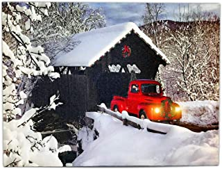 BANBERRY DESIGNS Red Truck Decor Canvas Print - Vintage Christmas Wall Art with LED and Fiber Optic Lights - Winter Scene Wall Artwork - Covered Bridge Snowy