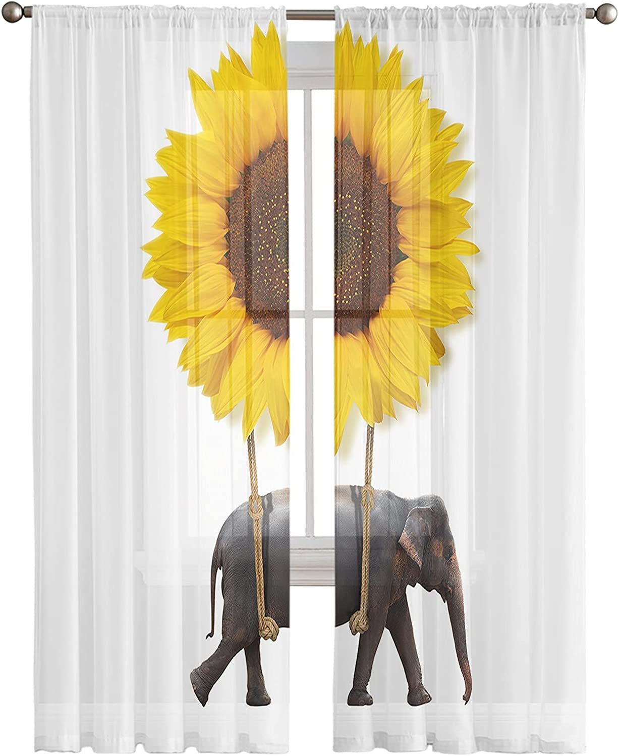 Baltimore Mall Semi Sheer Window Curtains Funny Poc Sunflower shopping Elephant with Rod