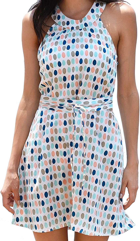 Upopby Women's Casual Chiffon Summer Beach Dress Printed Halter Neck Sleeveless Short Tunic Dresses
