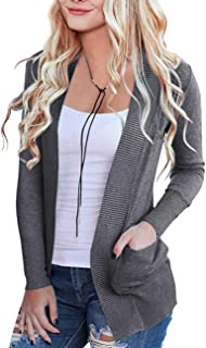 MEROKEETY Women's Open Front Casual Knit Cardigan Classic Long Sleeve Sweater with Pockets
