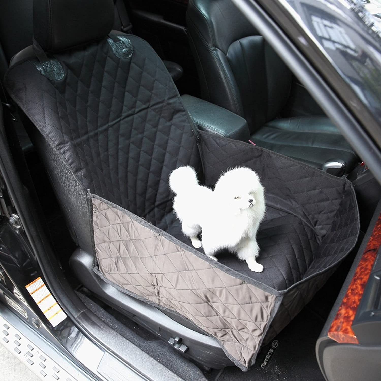 Pet Front Seat Cover for Cars  Black, GEMEK Front Seat Cover for Dogs Waterproof & Nonslip Backing, Universal Pet Car Seat Cover for Cars, Trucks & SUVs