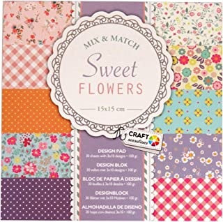 Craft Sensations Paper Printed Design Pad, Sweet Flowers, 30 Sheets, 10 Designs