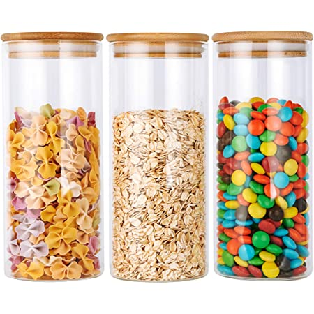 Glass Jar Container with Bamboo Lid /& Spoon Airtight Food Storage Kitchen