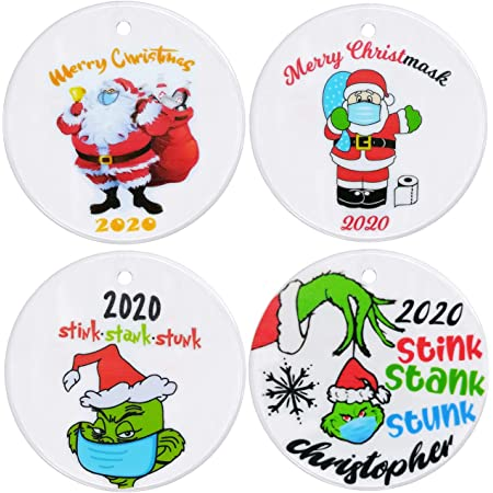 Unique Christmas Hanging Ornament for Christmas Tree Decorations 2PCS 2020 Christmas Ornaments Two-Side Printed style2 Christmas Decorating Set Creative Friends Gift for Family Friends