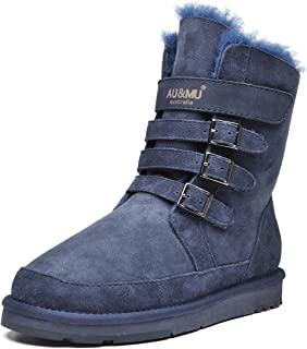 Aumu Womens Classic Thermal Mid Calf Thickening Platform Short Winter Snow Boots