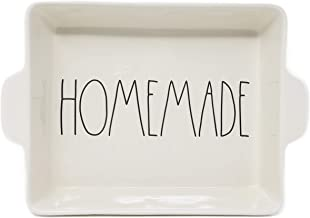 Rae Dunn HOMEMADE in large letters LL Casserole Baking Dish with Handles 10.5in X 8.5in Oven Microwave Dishwasher Safe.