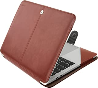 MOSISO Case Compatible with 2019 2018 MacBook Air 13 A1932 Retina/2019 2018 2017 2016 Mac Pro 13 A2159/A1989/A1706/A1708, Premium PU Leather Folio Protective Stand Cover Sleeve, Brown
