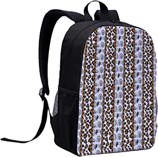 Zambia Mini Backpack,Cheetah Leopard Skin Pattern with Wildlife Featured Spirals Illustration for Woman,12″L x 5″W x 17″H