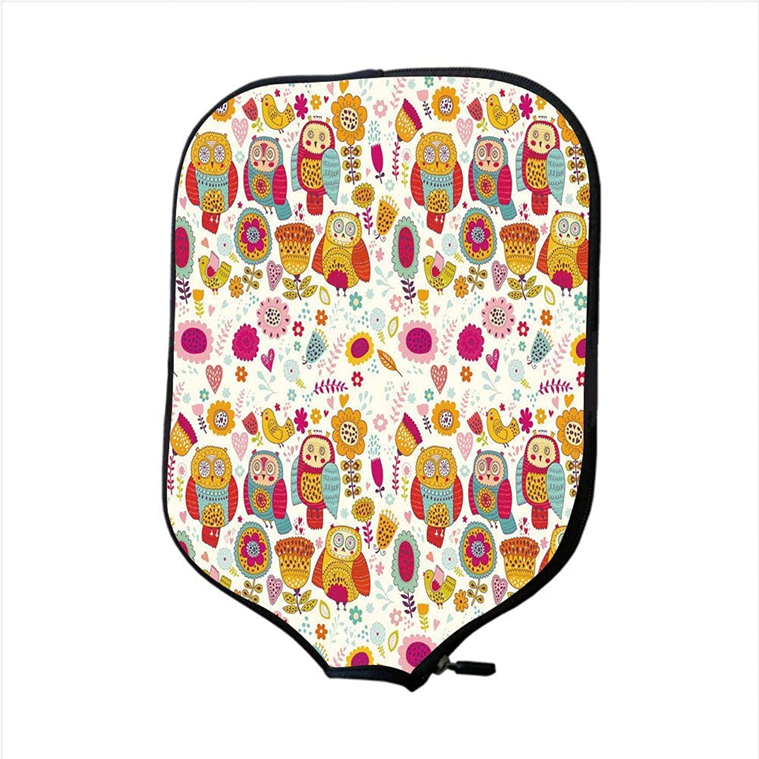 Fine Neoprene Pickleball Paddle Racket Cover Case,Owl,Sixties Inspired color Scheme Psychedelic Abstract Birds and Flowers Multicolord Image Decorative,Multicolor,Fit for Most Rackets