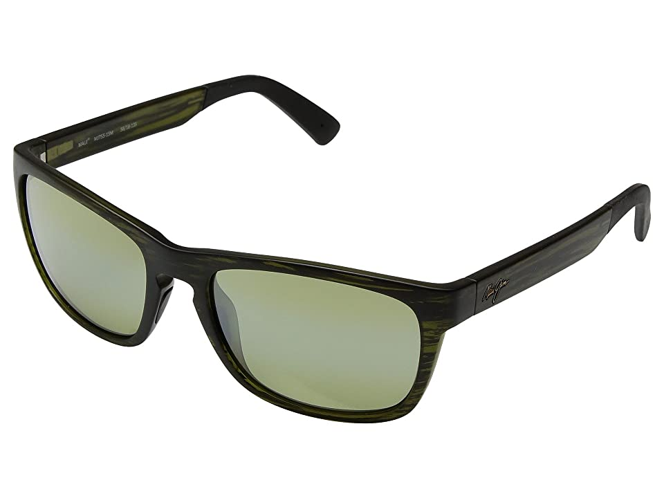 Maui Jim South Swell (Matte Green Stripe/Maui HT) Athletic Performance Sport Sunglasses