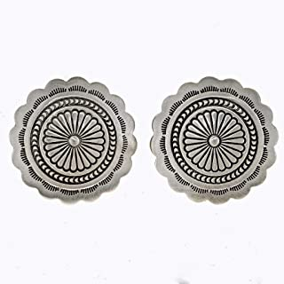 Silver Concho Earrings Santa Fe Finish Navajo Posts 1817