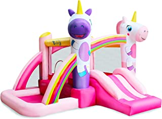 BESTPARTY Inflatable Bounce House with Slide for Princess Pink Unicorn Inflatable Bouncer House Jumper Houses