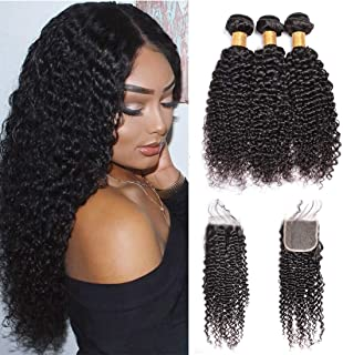 Ms Sunlight Hair Brazilian Kinkys Curly Hair 3 Bundles with Lace Closure Jerry Curly Human Hair