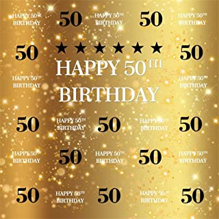 AOFOTO 10x10ft Happy 50th Birthday Background Golden 50 Years Old Party Decoration Photography Backdrop Abstract Shiny Stars Glitter Spots Banner Adult Man Woman Bday Photo Studio Props Vinyl