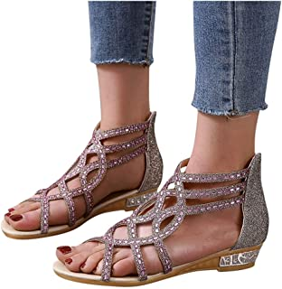 WANJXQUIY Women's Ankle Strap Low Wedge Sandal Summer Open Toe Casual Breathable Zipper Sandals with Rhinestone Sequins
