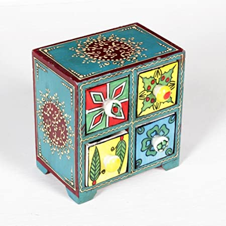 Home and Bazaar 4-Drawer Wooden Chest with Ceramic Drawers