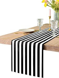 Texson 12 X 108 inch Black and White Striped Table Runner, Boho Cotton Black and White Table Runner for Modern Wedding Party Decoration, Outdoor Indoor Thanksgiving Christmas Birthday Party