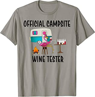 Official Campsite Wine Taster Flamingo Funny Camping T-Shirt
