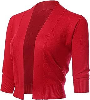 Twinklady Women's Classic 3/4 Sleeve Open Front Cropped Bolero Cardigan Short Shrugs