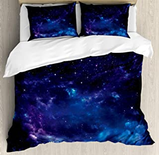 Ambesonne Sky Duvet Cover Set, Space Night Time Universe Stars and Nebulas Distant Parts of Galaxy, Decorative 3 Piece Bedding Set with 2 Pillow Shams, Queen Size, Purple Charcoal