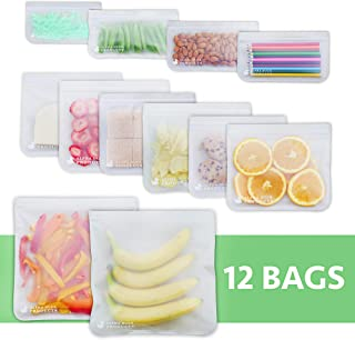 Reusable Storage Bags Food Container - (12 Pack) Ziplock Seal Leakproof Freezer Safe Preservation Gallon Bag For Snacks Sandwich Liquid Meat Travel Items Washable Eco-Friendly BPA FREE