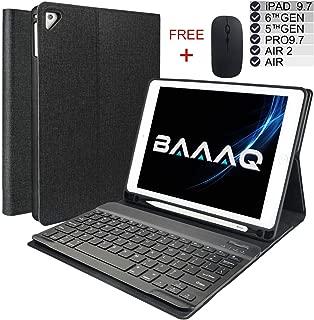 Baaaq Keyboard Case for iPad 2018 (6th Gen) - iPad 2017 (5th Gen) - iPad Pro 9.7 - iPad Air 2 & 1 - Wireless Bluetooth - iPad case with Keyboard & Pencil Holder (9.7, Black)