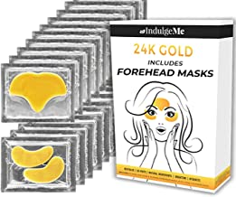 Gold Eye Masks, Plus Forehead Pads, Collagen Eye Patches for Puffy Eyes, Dark Circles, Bags, Most Eye Coverage of Any Treatment, Under Eye Mask, Natural Collagen, Nano Gold, Hyaluronic Acid.