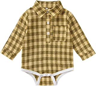 Xifamniy Infant Baby Spring&Autumn Romper Cotton Simple Plaid Shirt Design Jumpsuit
