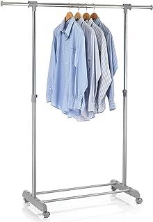 IDIMEX Portant à vêtements Sala en métal chromé et Gris, penderie Simple sur roulettes vestiaire Mobile avec 1 Barre Exten...