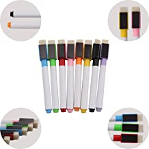 Xpork 8 Colours Magnetic White Board Marker Pens Dry Erase Eraser Easy Whiteboard with Built-in Eraser