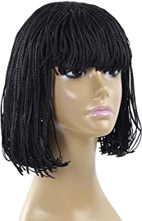 12 Inch Synthetic Braided Wig Short Bob Wigs Natural Black Hair Wig Micro Box Braid Short Wigs for Black Wome(12 inch, 1B)