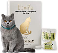 Ecolife All Natural Flea and Tick Spot-On Treatment for Cats and Kittens, Prevent and Repel Against All Insects, Waterproof, 4 Month Protection