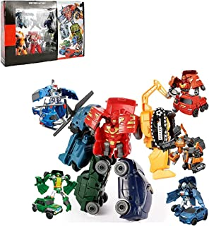 Hengyuan Voiture de Robots transformants 5-en-1 pour Jouets d'enfants, Jouets éducatifs d'assemblage de Bricolage, Cadeau ...