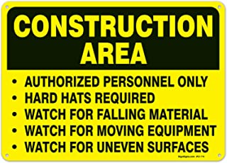 Construction Area Sign, Authorized Personnel Only Sign, 10x14 Rust Free Aluminum UV Printed, Easy to Mount Weather Resistant Long Lasting Ink Made in USA by SIGO SIGNS