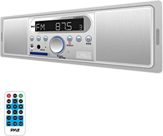 Pyle Marine Bluetooth Stereo Radio - 12v Single DIN Style Digital Boat In dash Radio Receiver System with Built-in Mic and Speakers,  RCA,  MP3,  USB,  SD,  AM FM Radio - Remote Control - PLMR7BTW (White)
