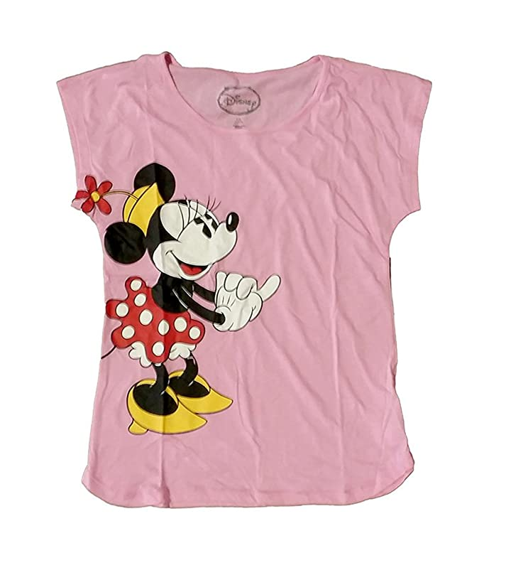 Disney Classic Minnie Mouse Sweet Womens Pajama T Shirt Top - Pink Scoop Neck