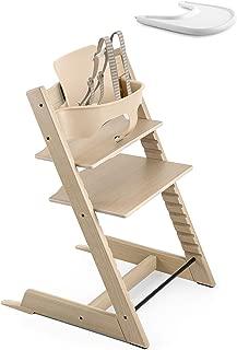 Stokke 2019 Tripp Trapp Oak White High Chair & White Tray Bundle