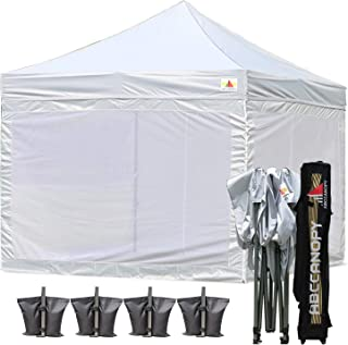 ABCCANOPY 10x10 Pop up Canopy Tent Commercial Tents with White Mesh Walls Camping Screen & Mesh House Bonus Rolly Carry Bag and 4X Weight Bag, 30+Colors