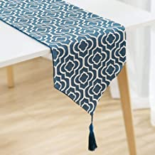 NY Table Runner,Jacquard Blue Dresser Scarves Runner Washable Cotton Linen Table Runners for Kitchen Dining Coffee or Indo...