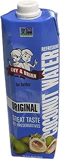Amy & Brian Coconut Water, Original, Large 1 Liter Tetra Pak (Pack of 6)