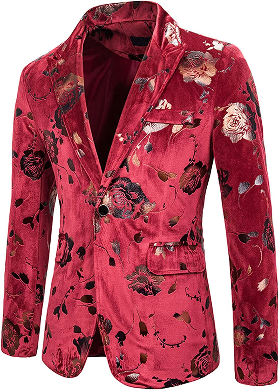 WBLKD Hombre Velvet Blazer Gold Rose Print Slim Fit Paisley Chaqueta De Fiesta De Boda con Estilo Jackets