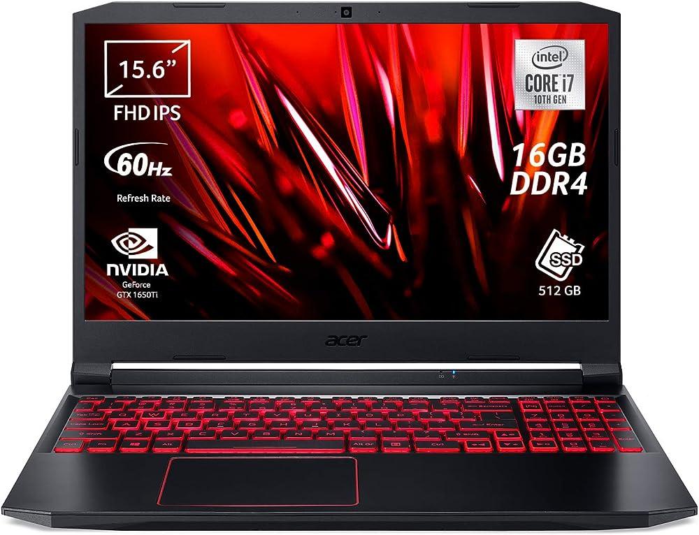 Acer nitro 5, computer gaming, intel core i7-10750h, ram 16 gb ddr4, 512 gb, nvidia geforce gtx 1650ti 4 gb AN515-55-763G