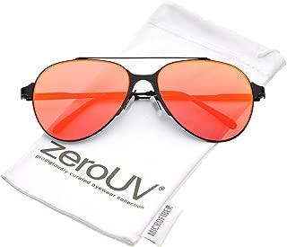 Ultra Sleek Straight Metal Crossbar Color Mirrored Flat Lens Aviator Sunglasses 56mm