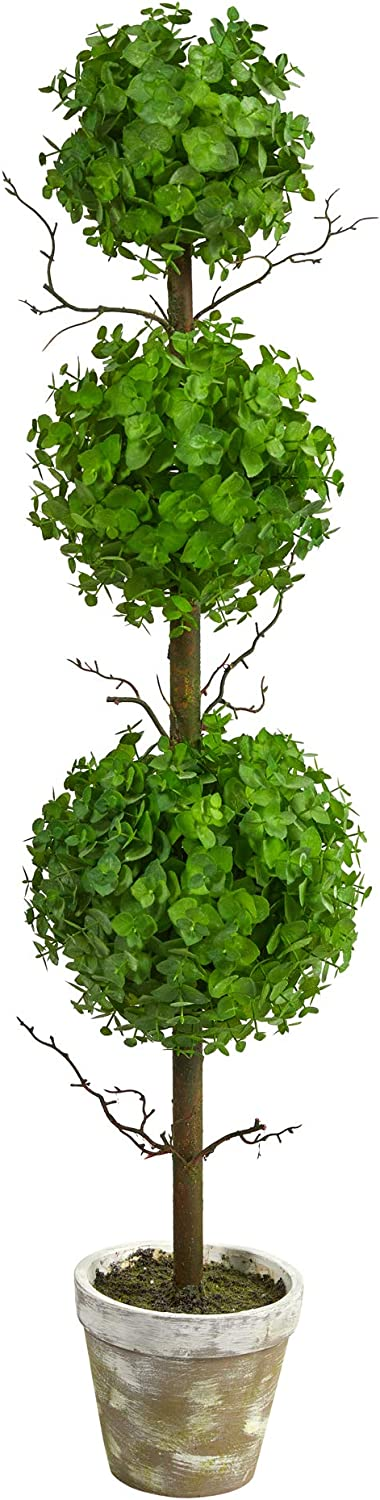 3ft. Eucalyptus Triple Ball Tree Artificial Topiary Max Cheap 85% OFF