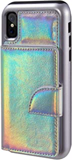 SumacLife Holographic Compact and Protective Hybrid Wallet Case for Apple iPhone X Holographic Silver