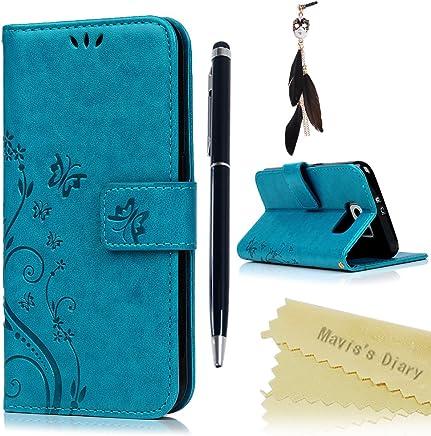 f5801951479 Funda Libro para Samsung Galaxy S6 de Cuero Impresi?n Con Tapa y  Cartera,Correa de mano - Mavis's Diary Carcasa PU Leather Con TPU Silicona  Case Interna ...