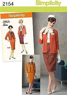 Simplicity 1960's Retro Pattern 2154 Misses Miss Petite Blouse, Skirt, Jacket, Knit Cardigan Size 6-8-10-12-14